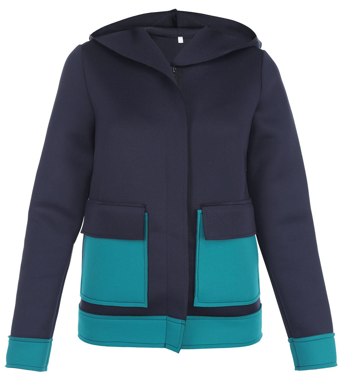 Жакет Milana Style, цвет: темно-синий, бирюзовый. м1001. Размер 50м1001Теплый жакет Milana Style, выполненный из уплотненного полиэстера, согреет вас в прохладную погоду. Модель прямого кроя с капюшоном и длинными рукавами застегивается на пластиковую-застежку-молнию и дополнительно ветрозащитной планкой. Спереди модель дополнена двумя накладными карманами. Этот уютный жакет станет отличным дополнением к вашему гардеробу.