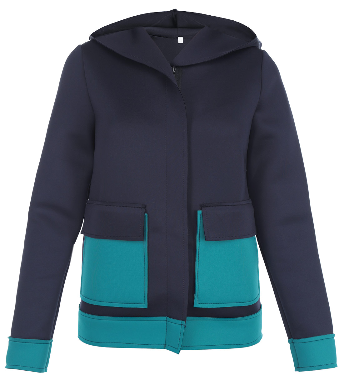 цена  Жакет Milana Style, цвет: темно-синий, бирюзовый. м1001. Размер 50  онлайн в 2017 году