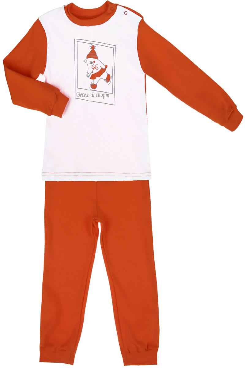 Пижама детская КотМарКот Веселый спорт, цвет: морковный, белый. 16188. Размер 80, 9-12 месяцев16188