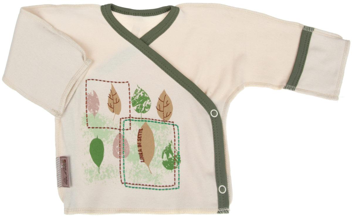 Распашонка-кимоно Linea Di Sette Ботаника, цвет: бежевый, зеленый. 05-0401. Размер 68, 6-9 месяцев05-0401Распашонка-кимоно Linea Di Sette Ботаника послужит идеальным дополнением к гардеробу вашего ребенка. Изделие изготовлено из высококачественного органического полотна в соответствии с принятыми стандартами. Органический хлопок - это безвредная альтернатива традиционному хлопку, ткани из него не вредят нежной коже ребенка, а также их производство безопасно для окружающей среды. Органический хлопок очень мягкий, отлично пропускает воздух, обеспечивая максимальный комфорт. Эластичные швы, выполненные наружу, приятны телу младенца и не препятствуют его движениям. Распашонка с длинными рукавами-кимоно и V-образным вырезом горловины застегивается с помощью кнопок по принципу кимоно, что помогает с легкостью переодеть кроху. Рукава дополнены специальными отворотами-рукавичками, благодаря которым ребенок не поцарапает себя. Ручки могут быть как открытыми, так и закрытыми. Модель оформлена принтом с изображением листочков, а также вышивкой. Распашонка полностью соответствует особенностям жизни ребенка в ранний период, не стесняя и не ограничивая его в движениях.