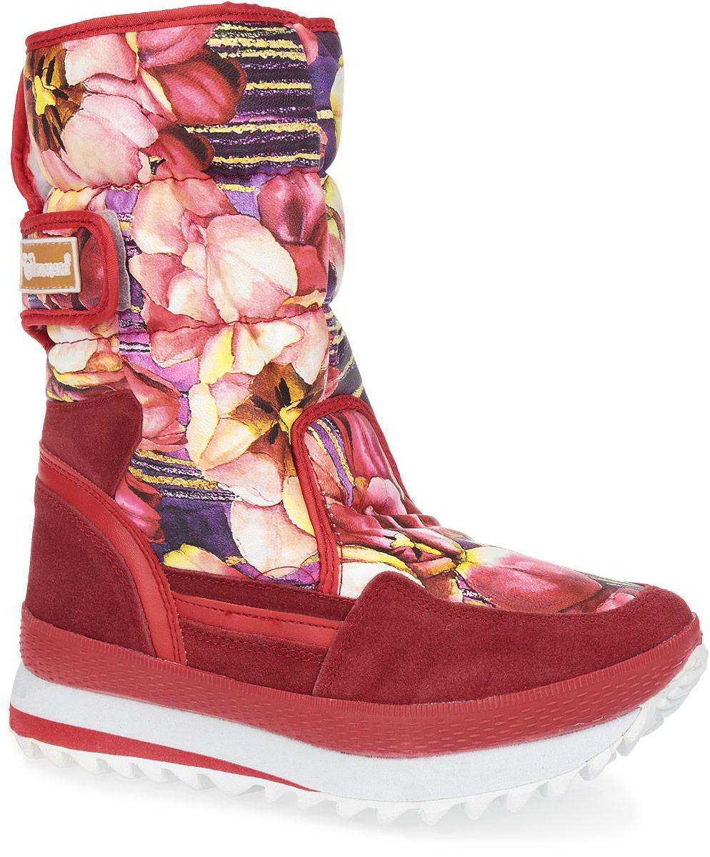 Дутики женские Mon Ami, цвет: бордовый, светло-бежевый, желтый, фиолетовый. 3283-23. Размер 373283-23/PURPLEПрактичные и удобные женские дутики от Mon Ami - отличный вариант на каждый день. Модель выполнена из комбинации искусственной кожи, оформленной цветочными изображениями, и искусственного спилка. По ранту обувь дополнена вставкой из полимерного материала. Верх изделия оформлен двумя удобными застежками-липучками, которые надежно фиксируют модель на ноге и регулируют объем. Подкладка и стелька, изготовленные из искусственного меха, согреют ноги в мороз и обеспечат уют. Сбоку дутики декорированы нашивкой из ПВХ с логотипом бренда. Подошва из полимерного термопластичного материала - с противоскользящим рифлением. Удобные дутики придутся вам по душе.