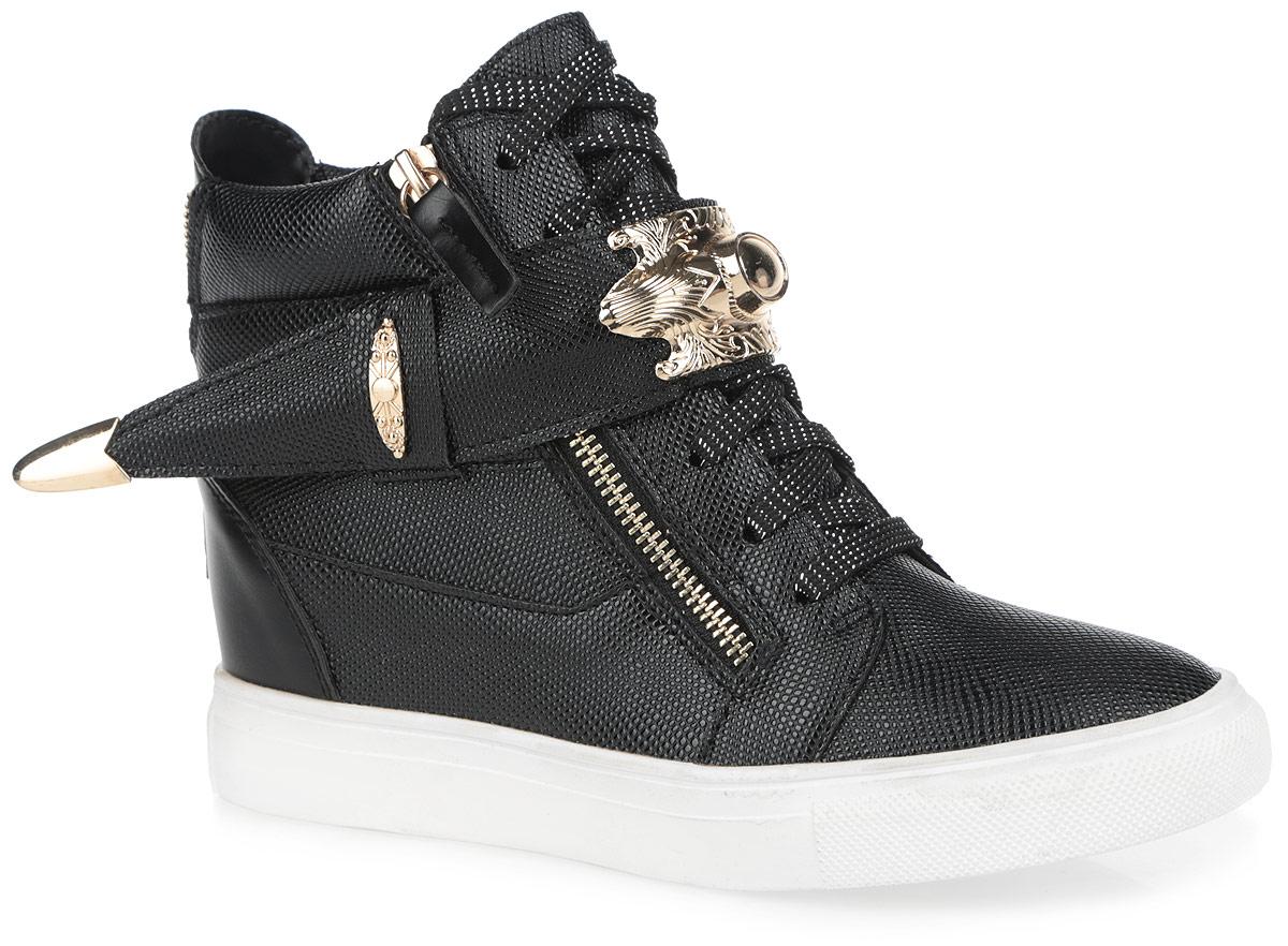 Сникеры женские Burlesque, цвет: черный, золотистый. 5128-15. Размер 405128-15/BLACKСтильные женские сникерсы Burlesque заинтересуют вас своим дизайном. Модель выполнена из искусственной кожи с фактурной поверхностью. Верх изделия оформлен шнуровкой, которая надежно зафиксирует обувь на ноге и отрегулирует объем. Внутри сникерсы исполнены из текстиля с верхней отделкой из искусственной кожи. Стелька, изготовленная из ЭВА материала с покрытием из искусственной кожи, обеспечит ногам комфорт и уют. Обувь застегивается на две застежки-молнии, расположенные по бокам. Голенище украшено декоративным ремешком со стильной фурнитурой с покрытием под золото, а задник - молнией. Танкетка умеренной высоты - устойчива. Подошва из полимерного термопластичного материала с рельефным протектором обеспечивает отличное сцепление с любой поверхностью. В этих сникерсах вашим ногам будет комфортно и уютно. Они подчеркнут ваш стиль и индивидуальность.