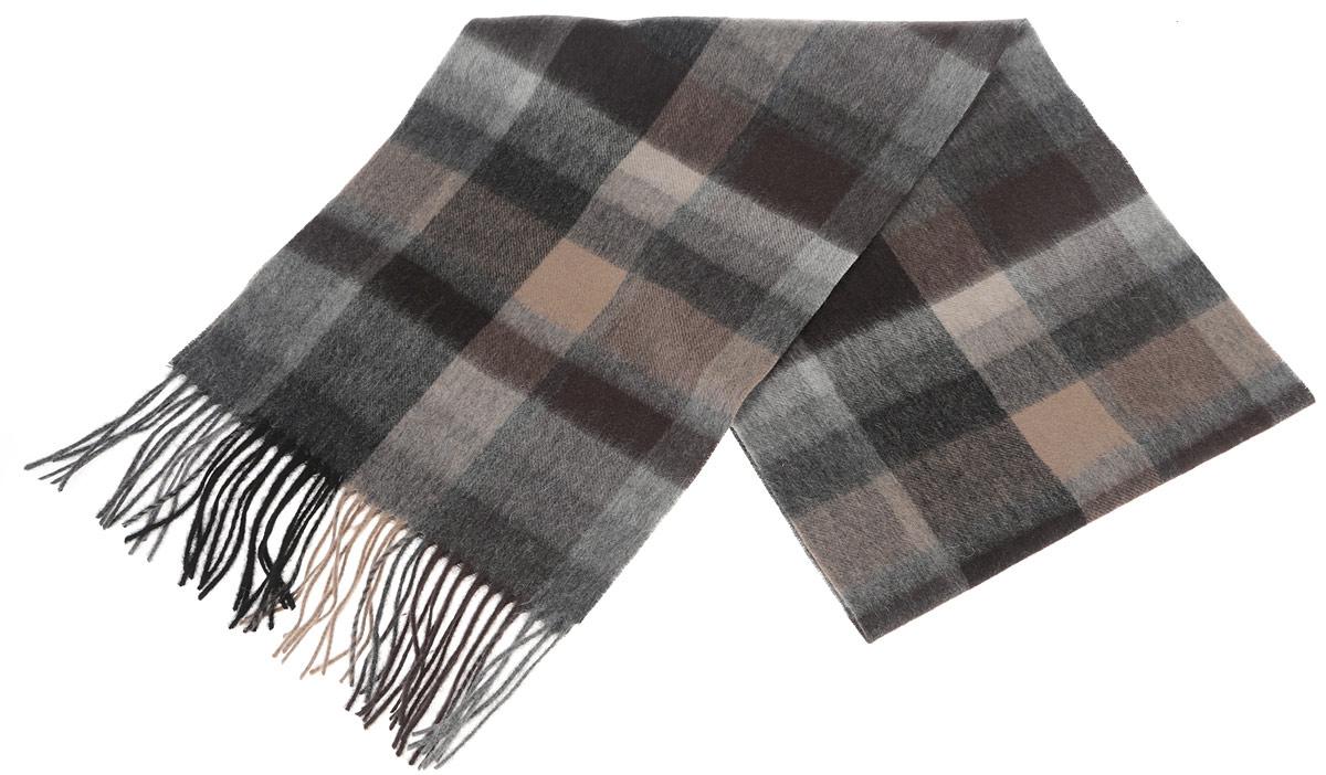 Шарф мужской Paccia, цвет: коричневый, бежевый, черный. TH-21501-11. Размер 30 см х 180 смTH-21501-11Стильный шарф Paccia согреет вас в прохладную погоду и станет отличным завершением вашего образа. Шарф изготовлен из натуральной шерсти и оформлен орнаментом в клетку. Материал мягкий и приятный на ощупь, хорошо драпируется. Края шарфа декорированы кисточками, скрученными в жгутики.Этот модный аксессуар гармонично дополнит любой наряд и подчеркнет ваш изысканный вкус.