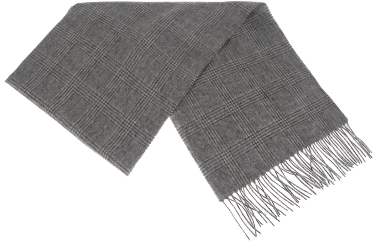 Шарф мужской Paccia, цвет: серый, темно-серый. TH-21519-13. Размер 30 см x 165 смTH-21519-13Стильный шарф Paccia согреет вас в прохладную погоду и станет отличным завершением вашего образа. Шарф изготовлен из натуральной шерсти и оформлен узором в клетку. Материал мягкий и приятный на ощупь, хорошо драпируется. Края шарфа декорированы кисточками, скрученными в жгутики.Этот модный аксессуар гармонично дополнит любой наряд и подчеркнет ваш изысканный вкус.
