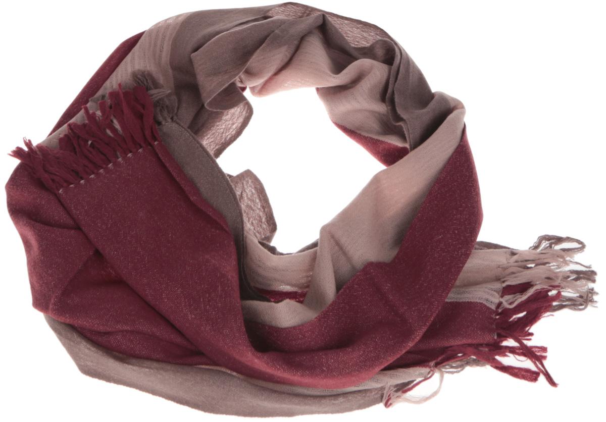 Шарф мужской Eleganzza, цвет: бордовый, светло-коричневый. U41-1057. Размер 70 см х 190 смU41-1057Элегантный мужской шарф Eleganzza согреет вас в холодное время года, а также станет изысканным аксессуаром, который призван подчеркнуть ваш стиль и индивидуальность. Оригинальный и стильный шарф выполнен из высококачественной 100% шерсти, он оформлен широкими полосками и украшен длинными кистями по краю.Такой шарф станет превосходным дополнением к любому наряду, защитит вас от ветра и холода, и позволит вам создать свой неповторимый стиль.