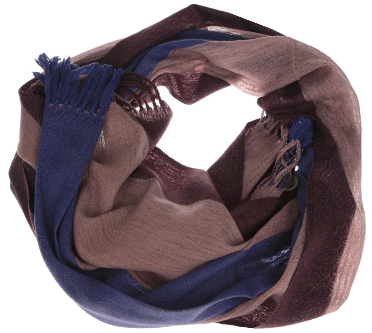 Шарф мужской Eleganzza, цвет: синий, коричневый. U41-1057. Размер 70 см х 190 смU41-1057Элегантный мужской шарф Eleganzza согреет вас в холодное время года, а также станет изысканным аксессуаром, который призван подчеркнуть ваш стиль и индивидуальность. Оригинальный и стильный шарф выполнен из высококачественной 100% шерсти, он оформлен широкими полосками и украшен длинными кистями по краю.Такой шарф станет превосходным дополнением к любому наряду, защитит вас от ветра и холода, и позволит вам создать свой неповторимый стиль.