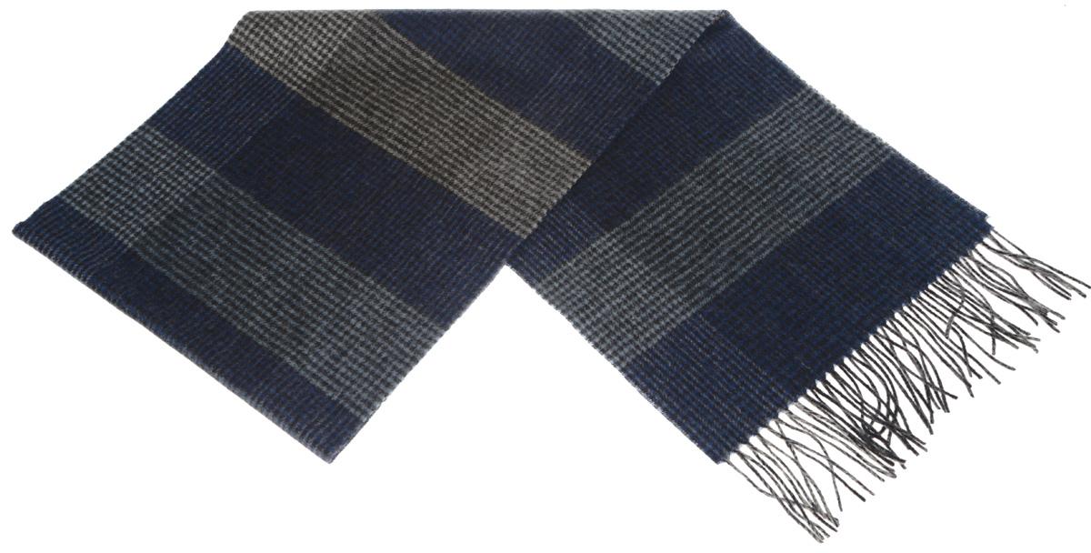 Шарф мужской Paccia, цвет: синий, черный, серый. TH-21525-3. Размер 30 см х 180 смTH-21525-3Стильный шарф Paccia согреет вас в прохладную погоду и станет отличным завершением вашего образа. Шарф изготовлен из натуральной шерсти и оформлен узором в мелкую клетку. Материал мягкий и приятный на ощупь, хорошо драпируется. Края шарфа декорированы кисточками, скрученными в жгутики.Этот модный аксессуар гармонично дополнит любой наряд и подчеркнет ваш изысканный вкус.