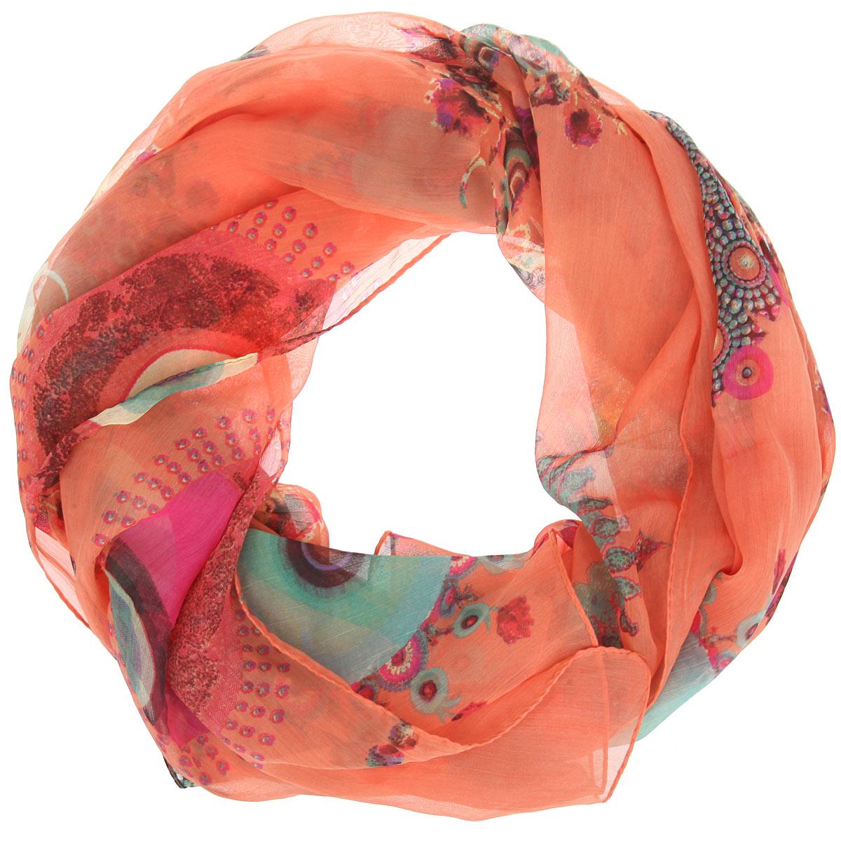 Платок женский Ethnica, цвет: оранжевый, розовый, зеленый. 524040н. Размер 90 см x 90 см524040нСтильный женский платок Ethnica станет великолепным завершением любого наряда. Легкий платок изготовлен из 100% вискозы. Он оформлен изысканным орнаментом.Классическая квадратная форма позволяет носить платок на шее, украшать им прическу или декорировать сумочку. Мягкий и шелковистый платок поможет вам создать изысканный женственный образ, а также согреет в непогоду.Такой платок превосходно дополнит любой наряд и подчеркнет ваш неповторимый вкус и элегантность.