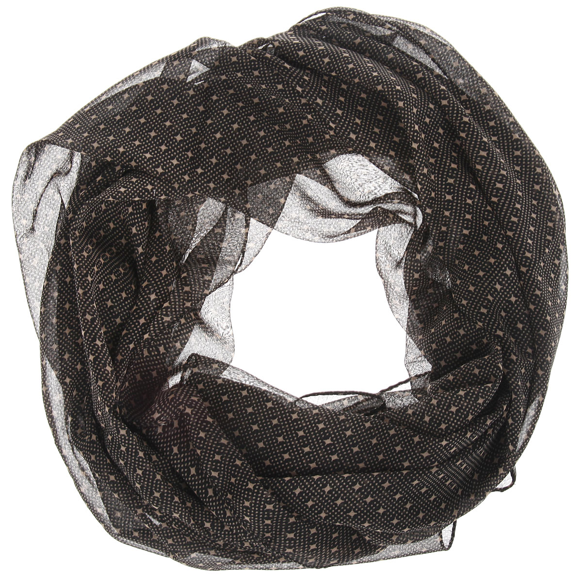 Платок женский Ethnica, цвет: черный, темно-бежевый. 524040н. Размер 90 см x 90 см524040нСтильный женский платок Ethnica станет великолепным завершением любого наряда. Легкий платок изготовлен из 100% вискозы. Он оформлен оригинальным принтом в мелкий горох, дополненный небольшими звездами.Классическая квадратная форма позволяет носить платок на шее, украшать им прическу или декорировать сумочку. Мягкий и шелковистый платок поможет вам создать изысканный женственный образ, а также согреет в непогоду.Такой платок превосходно дополнит любой наряд и подчеркнет ваш неповторимый вкус и элегантность.