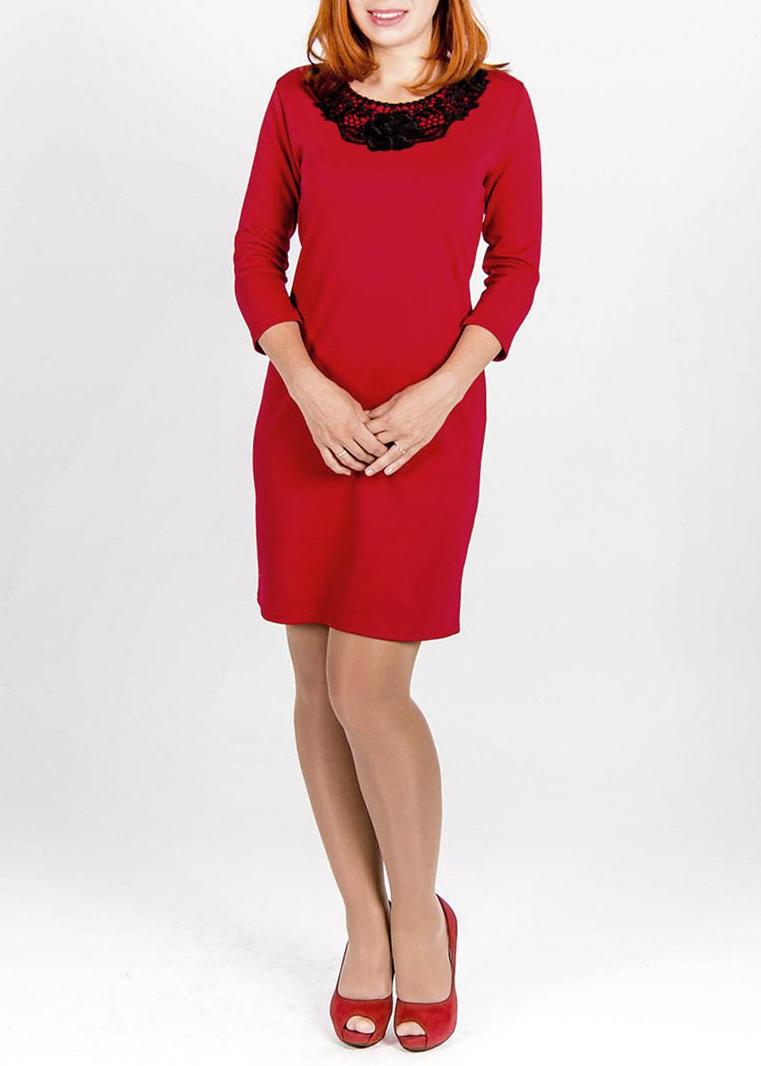 Платье Lautus, цвет: темно-красный. 242. Размер 44242Элегантное платье Lautus изготовлено из мягкой, приятной на ощупь ткани. Модель с рукавами 3/4 добавит вашему образу легкости. Ворот оформлен ажурной вставкой с изображениями цветов. Яркое и оригинальное платье непременно привлечёт внимание, создаст стильный и лаконичный образИдеальный вариант для создания положительного впечатления!.