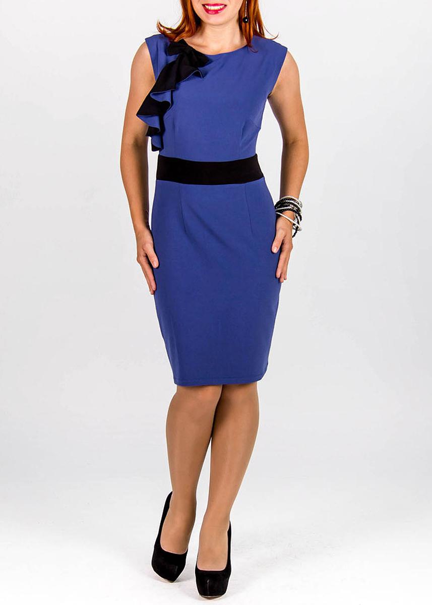 Платье Lautus, цвет: синий, черный. 414. Размер 44414Элегантноеплатье Lautus изготовлено из высококачественного полиэстера. Платье без рукавов, с круглым вырезом горловины застегивается на потайную молнию сзади. Модель украшена декоративным бантом и контрастными воланами. Сзади по центральному шву находится небольшой разрез. Идеальный вариант для создания эффектного образа.