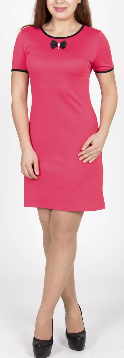 Платье Lautus, цвет: ярко-розовый. 593. Размер 52593Элегантное платье Lautus изготовлено из высококачественного эластичного материала с текстурным рисунком. Такое платье обеспечит вам комфорт и удобство при носке. Платье с короткими рукавами и круглым вырезом горловины понравится любой ценительнице женственного стиля. Спереди платье оформлено очаровательным атласным бантиком. Облегающий силуэт великолепно подчеркнет достоинства фигуры. Изысканный наряд создаст обворожительный неповторимый образ. Это модное и удобное платье станет превосходным дополнением к вашему гардеробу, оно подарит вам удобство и поможет вам подчеркнуть свой вкус и неповторимый стиль.