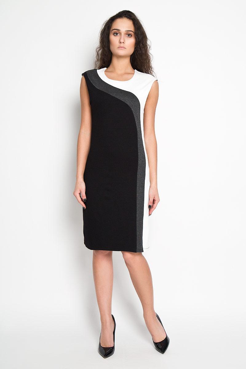Платье Sela, цвет: черный, белый. Dksl-117/1030-5416D. Размер S (44)Dksl-117/1030-5416DЭлегантное платье Sela выполнено из высококачественного эластичного комбинированного материала. Такое платье обеспечит вам комфорт и удобство при носке.Модель без рукавов, с круглым вырезом горловины выгодно подчеркнет все достоинства вашей фигуры благодаря слегка приталенному силуэту. Платье оформлено контрастными вставками. Изысканное платье-миди создаст обворожительный и неповторимый образ.Это модное и удобное платье станет превосходным дополнением к вашему гардеробу, оно подарит вам удобство и поможет вам подчеркнуть свой вкус и неповторимый стиль.