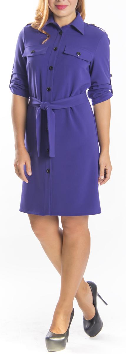 Платье Lautus, цвет: фиолетовый. 651. Размер 50651Стильное платье-рубашка Lautus прямого кроя из мягкого плотного трикотажа подойдет для повседневной носки. Модель выполнена из полиэстера, вискозы и эластана, благодаря которым изделие хорошо держит форму. Платье-рубашка с отложным воротником и рукавами до локтя дополнено текстильным поясом, который подчеркнет вашу талию. Это модное платье станет отличным дополнением к вашему гардеробу.