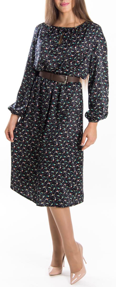 Платье Lautus, цвет: темно-синий, бирюзовый, красный. 655. Размер 50655Элегантное платье Lautus изготовлено из высококачественного эластичного полиэстера, гладкого и приятного на ощупь. Такое платье обеспечит вам комфорт и удобство при носке.Модель с круглым вырезом горловины и длинными рукавами выгодно подчеркнет все достоинства вашей фигуры благодаря приталенному силуэту. Манжеты рукавов дополнены эластичными резинками. Платье имеет небольшую каплевидную вырубку спереди и оформлено принтом с изображением птичек на ветках. Изысканное платье-макси с пришивной юбкой создаст обворожительный и неповторимый образ.Это модное и удобное платье станет превосходным дополнением к вашему гардеробу, оно подарит вам удобство и поможет вам подчеркнуть свой вкус и неповторимый стиль.