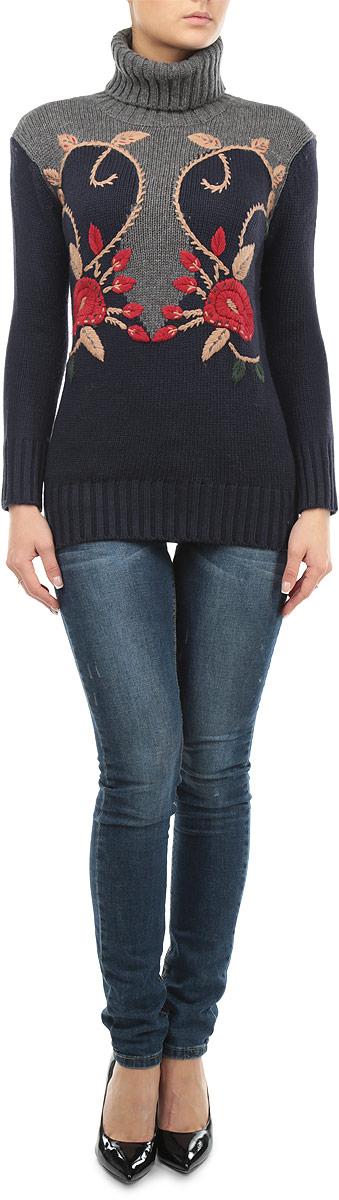 Свитер женский Baon, цвет: темно-синий, серый, красный. B135556. Размер XS (42)B135556_DARK NAVYЖенский свитер Baon станет стильным дополнением к вашему гардеробу. Выполненный из полиамида и акрила с добавлением шерсти, он очень мягкий и приятный на ощупь, не сковывает движения и позволяет коже дышать, обеспечивая комфорт.Свитер с длинными рукавами и высоким воротником-гольф великолепно подойдет для создания современного образа в стиле Casual. Манжеты рукавов, ворот и низ изделия связаны крупной резинкой. Модель оформлена цветочной вышивкой.Такой свитер идеально подойдет для прохладной погоды, в нем вы всегда будете чувствовать себя уютно и комфортно.