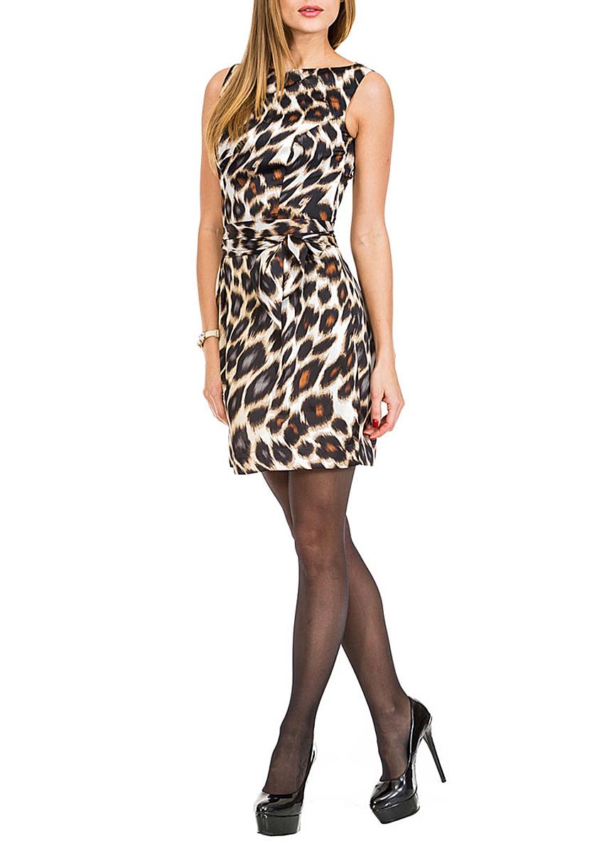 Платье Mondigo, цвет: коричневый. 5173. Размер 445173Восхитительное платье Mondigo, выполненное из легкого шелковистого материала, создаст утонченный образ. Модель оформлена леопардовым принтом. Изделие без рукавов с круглым вырезом горловины, на талии дополнено поясом. На спинке изделие застегивается на потайную молнию.Приталенный силуэт и длина чуть выше колена выгодно подчеркнут достоинства вашей фигуры.Такое платье займет достойное место в вашем гардеробе.