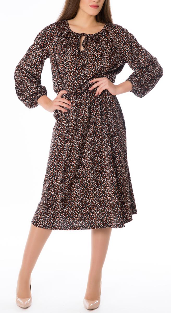 Платье Lautus, цвет: черный, коричневый, бежевый. 668. Размер 52668Стильное женское платье Lautus, выполненное из высококачественных материалов, идеально впишется в ваш гардероб. Модель приталенного силуэта с круглым воротником и длинными рукавами прекрасно подчеркнет достоинства вашей фигуры. Манжеты и линия талии изделия стянуты эластичными резинками. Края горловины изделия переходят в тонкие хлястики, которые можно завязать в бант. Это яркое платье с оригинальным принтом станет отличным дополнением к вашему гардеробу.