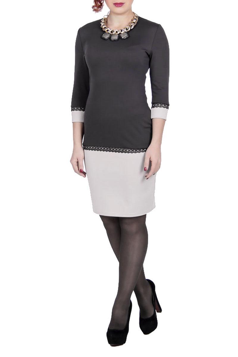 Платье Lautus, цвет: серый, бежевый. 545. Размер 46545Платье Launus выполнено из плотного трикотажного материала. Модель прилегающего силуэта с контрастно выделенным подолом и манжетами. Изделие с круглым вырезом горловины и рукавами 3/4 - отличный повседневный или офисный вариант. Платье оформлено кружевом.Стильное платье займет достойное место в вашем гардеробе.