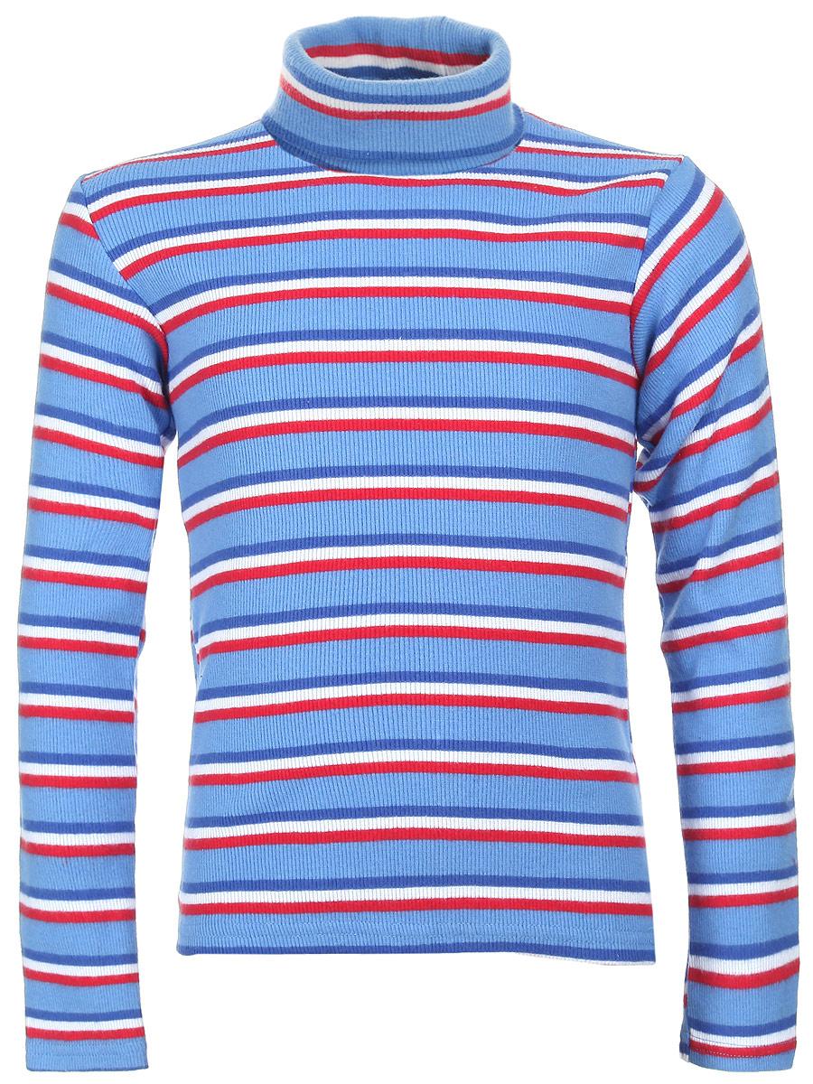 Водолазка для мальчика Gul-Ren-Teks, цвет: голубой. УзТ-ВД-033. Размер 122УзТ-ВД-033-02Водолазка для мальчика Gul-Ren-Teks идеально подойдет вашему ребенку для повседневной носки. Изделие изготовлено из трикотажной ткани - кашкорсе. Ткань способна пропускать воздух и впитывать влагу, что при носке создает особый комфорт. Водолазка хорошо ложится по фигуре, приятна к телу, не вызывает раздражений, обладает прочностью и не теряет своей формы. Модель с длинными рукавами и воротником-гольф оформлена ярким принтом в полоску. Эта водолазка послужит отличным дополнением к детскому гардеробу, в ней вашему маленькому мужчине будет удобно и комфортно.