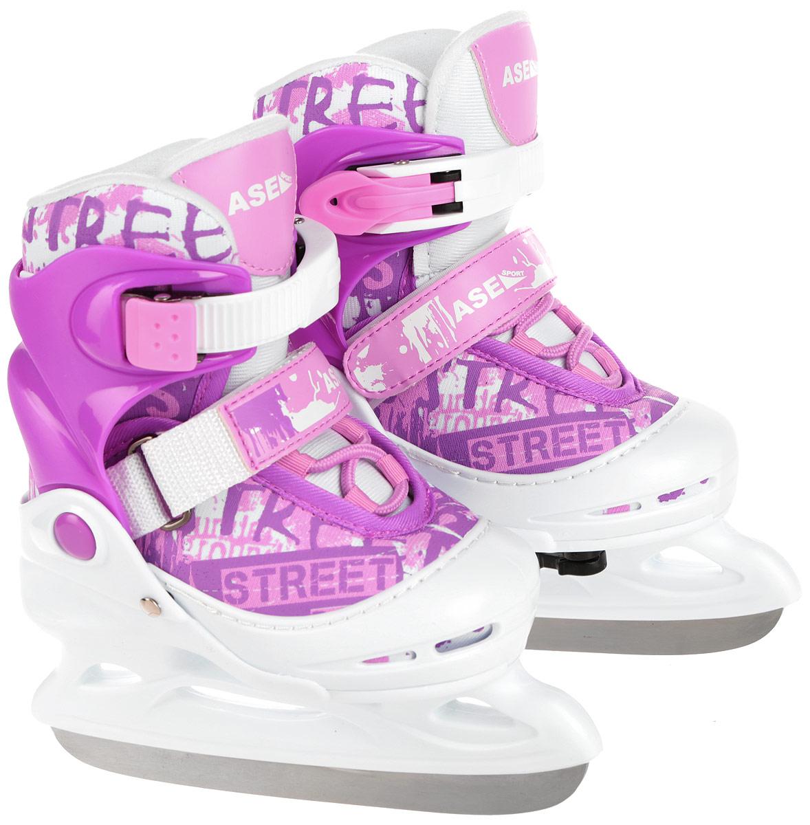Коньки ледовые Ase-Sport, раздвижные, цвет: белый, розовый. ASE-611F. Размер S (30-33)