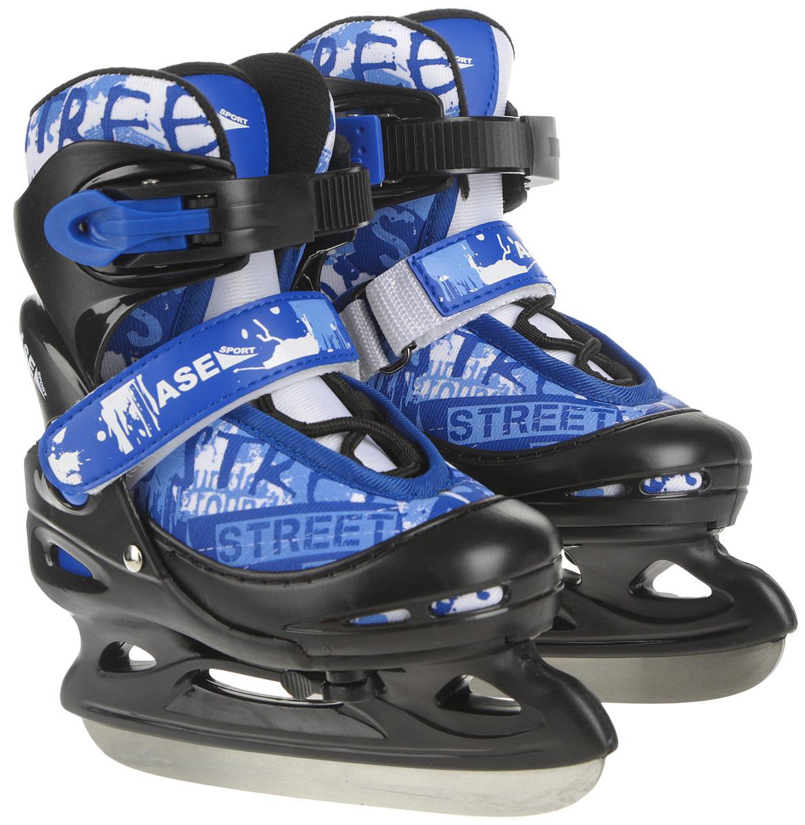 Коньки ледовые Ase-Sport, раздвижные, цвет: черный, синий, белый. ASE-611F. Размер XS (26-29)
