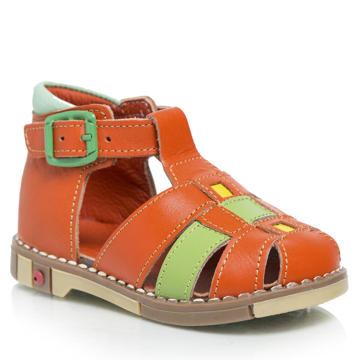 Сандалии для девочки Таши Орто, цвет: оранжевый, салатовый, светло-бирюзовый. 234-20. Размер 22234-20Стильные детские сандалии Таши Орто приведут в восторг вашу маленькую модницу. Модель выполнена из натуральной кожи контрастных цветов. Ремешок на застежке-пряжке, которая не ослабевает в процессе носки, помогает оптимально подогнать полноту обуви по ноге и гарантирует надежную фиксацию. Литая анатомическая стелька из натуральной кожи со сводоподдерживающим элементом и латексным покрытием, не продавливающаяся во время носки, обеспечивает правильное формирование стопы. Благодаря использованию современных внутренних материалов, позволяет оптимально распределить нагрузку по всей площади стопы, дает ножке ощущение мягкости и комфорта. Полужесткий задник фиксирует ножку ребенка, не давая ей смещаться из стороны в сторону и назад. Мягкая верхняя часть, которая плотно прилегает к ножке, и подкладка, изготовленная из натуральной кожи, позволяют избежать натирания. Широкий, устойчивый каблук, специальной конфигурации каблук Томаса, продлен с внутренней стороны до середины стопы, чтобы исключить вращение (заваливание) стопы вовнутрь. Эластичная подошва с рельефным протектором, позволяющая сгибаться стопе при ходьбе или беге в 1/3 стопы, а не по середине, предназначена для правильного распределения нагрузки на опорно-двигательный аппарат ребенка.