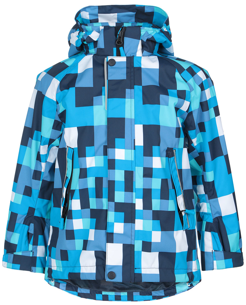 Куртка для мальчика Reima Flavor, цвет: голубой, темно-синий, белый. 521447-7471. Размер 92521447_7471Куртка для мальчика Reima Flavor идеально подойдет для ребенка в прохладное время года. Куртка изготовлена из водоотталкивающей и ветрозащитной мембранной ткани. Материал отличается высокой устойчивостью к трению, благодаря специальной обработке полиуретаном поверхность изделия отталкивает грязь и воду, что облегчает поддержание аккуратного вида одежды, дышащее покрытие с изнаночной части не раздражает даже самую нежную и чувствительную кожу ребенка, обеспечивая ему наибольший комфорт.Куртка с капюшоном и длинными рукавами-реглан застегивается на пластиковую застежку-молнию с защитой подбородка, благодаря чему ее легко надевать и снимать, и дополнительно имеет внешнюю ветрозащитную планку на кнопках и липучках. Капюшон, присборенный по бокам, защитит нежные щечки от ветра, он пристегивается к куртке при помощи застежек-кнопок. Низ рукавов регулируется с помощью хлястиков на липучках. Мягкая подкладка на воротнике и манжетах обеспечивает дополнительный комфорт. Спинка изделия удлинена. Спереди куртка дополнена двумя прорезными карманами на застежках-молниях с удобными держателями. С изнаночной стороны предусмотрен накладной карман на липучке. Понизу изделия проходит регулируемая эластичная резинка со стопперами. На модели предусмотрены светоотражающие элементы для безопасности в темное время суток. Все основные швы проклеены, не пропускают влагу и ветер. Оформлено изделие принтом в клетку.С внутренней стороны изделие оснащено специальными кнопками Reima Play Layers для пристегивания промежуточного слоя к верхней одежде.Комфортная, удобная и практичная куртка идеально подойдет для прогулок и игр на свежем воздухе!