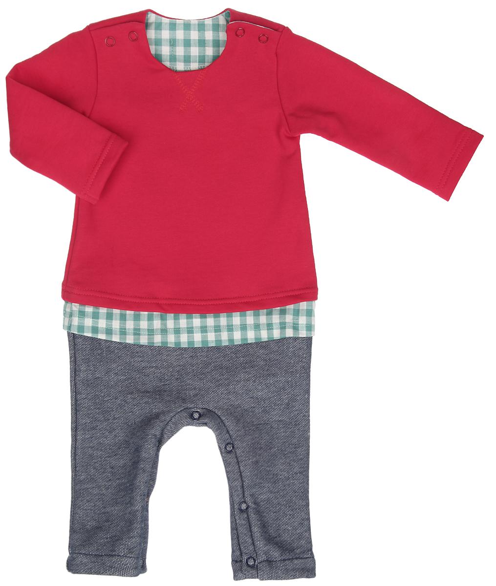 Комбинезон для мальчика Ёмаё, цвет: красный, темно-синий, зеленый. 22-434. Размер 6222-434Комбинезон для мальчика Ёмаё, имитирующий комплект из яркого джемпера, клетчатой рубашки и штанишек под джинсу, выполнен из хлопка с добавлением полиэстера. Комбинезон очень мягкий и приятный на ощупь, не раздражает нежную и чувствительную кожу ребенка. Лицевая сторона изделия гладкая, изнаночная с небольшими петельками, благодаря чему комбинезон удивительно комфортный и теплый. Модель с круглым вырезом горловины, длинными рукавами и открытыми ножками имеет застежки-кнопки по плечевым швам и на ластовице, что позволяет с легкостью переодеть малыша или сменить подгузник. Спереди изделие украшено фигурной прострочкой.Такой комбинезон станет стильным дополнением к гардеробу вашего ребенка, в нем крохе будет комфортно и уютно.