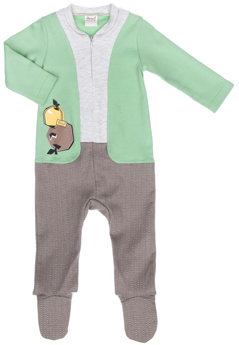 Комбинезон для мальчика Ёмаё, цвет: светло-зеленый, серый меланж, коричневый. 22-247. Размер 6222-247Детский комбинезон для мальчика Ёмаё - очень удобный и практичный вид одежды для малыша. Комбинезон выполнен из натурального хлопка, благодаря чему он очень мягкий и приятный на ощупь, не раздражает нежную кожу ребенка и хорошо вентилируется. Комбинезон с длинными рукавами и закрытыми ножками имеет спереди застежку-молнию, которая помогает легко переодеть ребенка или сменить подгузник. Круглый вырез горловины дополнен широкой трикотажной резинкой. Использование контрастных цветов придает изделию эффект 3 в 1. Модель оформлена термоаппликацией с изображением яблок.Комфортный и уютный комбинезон станет незаменимым дополнением к гардеробу вашего ребенка. Изделие полностью соответствует особенностям жизни младенца в ранний период, не стесняя и не ограничивая его в движениях.