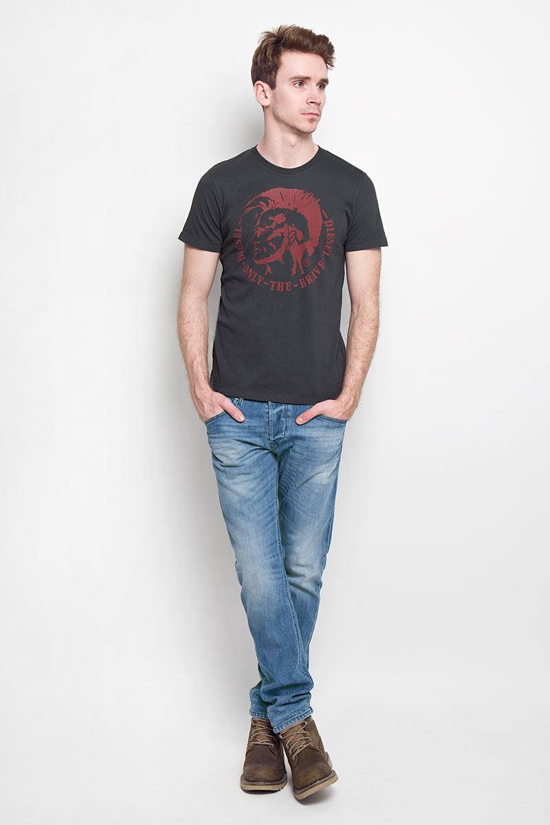 Футболка мужская Diesel, цвет: черный. 00SFFC_0JAIL/900. Размер XL (52)00SFFC-0JAILСтильная мужская футболка Diesel - идеальное решение для повседневной носки.Эта практичная, приятная на ощупь модель, выполненная из 100% хлопка,прекрасно пропускающей воздух, она позволит вам чувствовать себя уверенно илегко. Удобный крой обеспечивает свободу движений. Лицевая сторона футболкиоформлена оригинальным принтом.Такая футболка - идеальный вариант длясоздания эффектного образа.