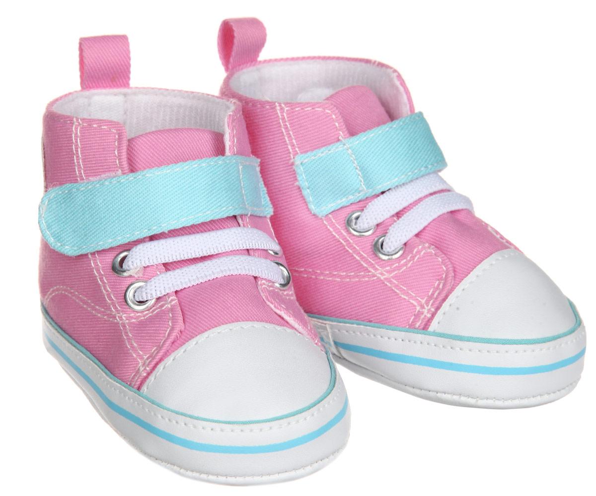 Пинетки для девочки Luvable Friends Высокие кроссовки, цвет: розовый, голубой, белый. 12033. Размер 12/18 месяцев12033Пинетки для девочки Luvable Friends, стилизованные под высокие кроссовки, станут отличным дополнением к гардеробу малышки. Изделие выполнено из хлопка и полиэстера.Модель дополнена эластичной шнуровкой и удобным хлястиком на застежке-липучке, которые надежно фиксируют пинетки на ножке ребенка. На стопе предусмотрен прорезиненный рельефный рисунок, благодаря которому ребенок не будет скользить. Изделие оформлено нашивкой с фирменным логотипом.Мягкие, не сдавливающие ножку материалы делают модель практичной и популярной. Такие пинетки - отличное решение для малышей и их родителей!