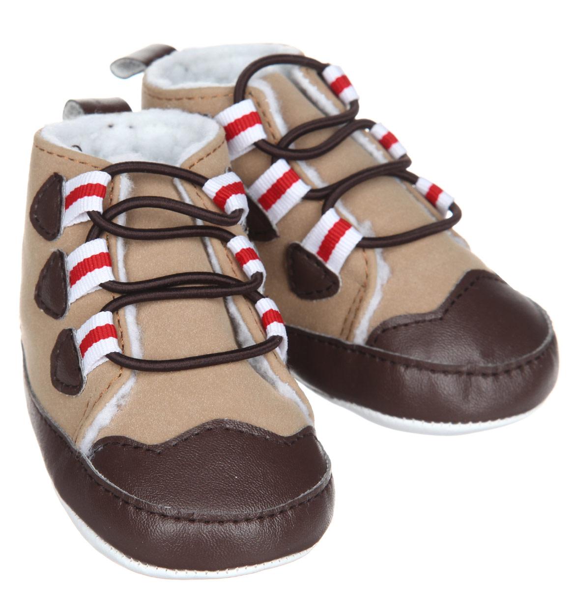 Пинетки для мальчика Luvable Friends Теплые ботинки, цвет: бежевый, коричневый, красный. 11781. Размер 0/6 месяцев11781Стильные пинетки для мальчика Luvable Friends Теплые ботинки отлично подойдут для носки в прохладную погоду. Изделие выполнено из искусственной замши. В качестве подкладки используется искусственная шерсть - шерпа, которая сохранит ножки ребенка в тепле.Модель дополнена эластичной шнуровкой, надежно фиксирующей пинетки на ножке младенца. На стопе предусмотрен прорезиненный рельефный рисунок, благодаря которому ребенок не будет скользить.Мягкие, не сдавливающие ножку материалы делают модель практичной и популярной. Такие пинетки - отличное решение для малышей и их родителей!