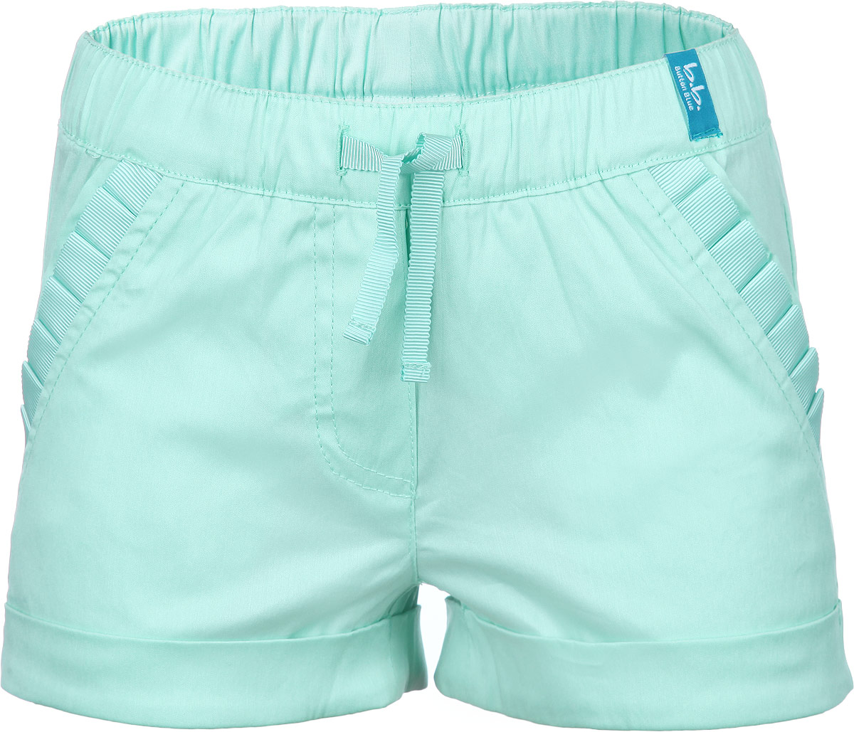 Шорты для девочки Button Blue, цвет: светло-зеленый. 116BBGM6001. Размер 104, 4 года116BBGM6001Стильные шорты для девочки Button Blue идеально подойдут вашему ребенку и станут отличным дополнением к детскому гардеробу. Шорты выполнены из эластичного хлопка с добавлением нейлона, мягкие и приятные на ощупь, не сковывают движения и позволяют коже дышать, обеспечивая наибольший комфорт. Шорты на талии имеют широкую эластичную резинку с внутренним затягивающимся шнурком, благодаря чему они не сдавливают животик ребенка и не сползают. Спереди расположены два втачных кармана, украшенных оборкой. Снизу модель дополнена декоративными отворотами. В таких шортах ваша маленькая модница будет чувствовать себя комфортно, уютно и всегда будет в центре внимания!