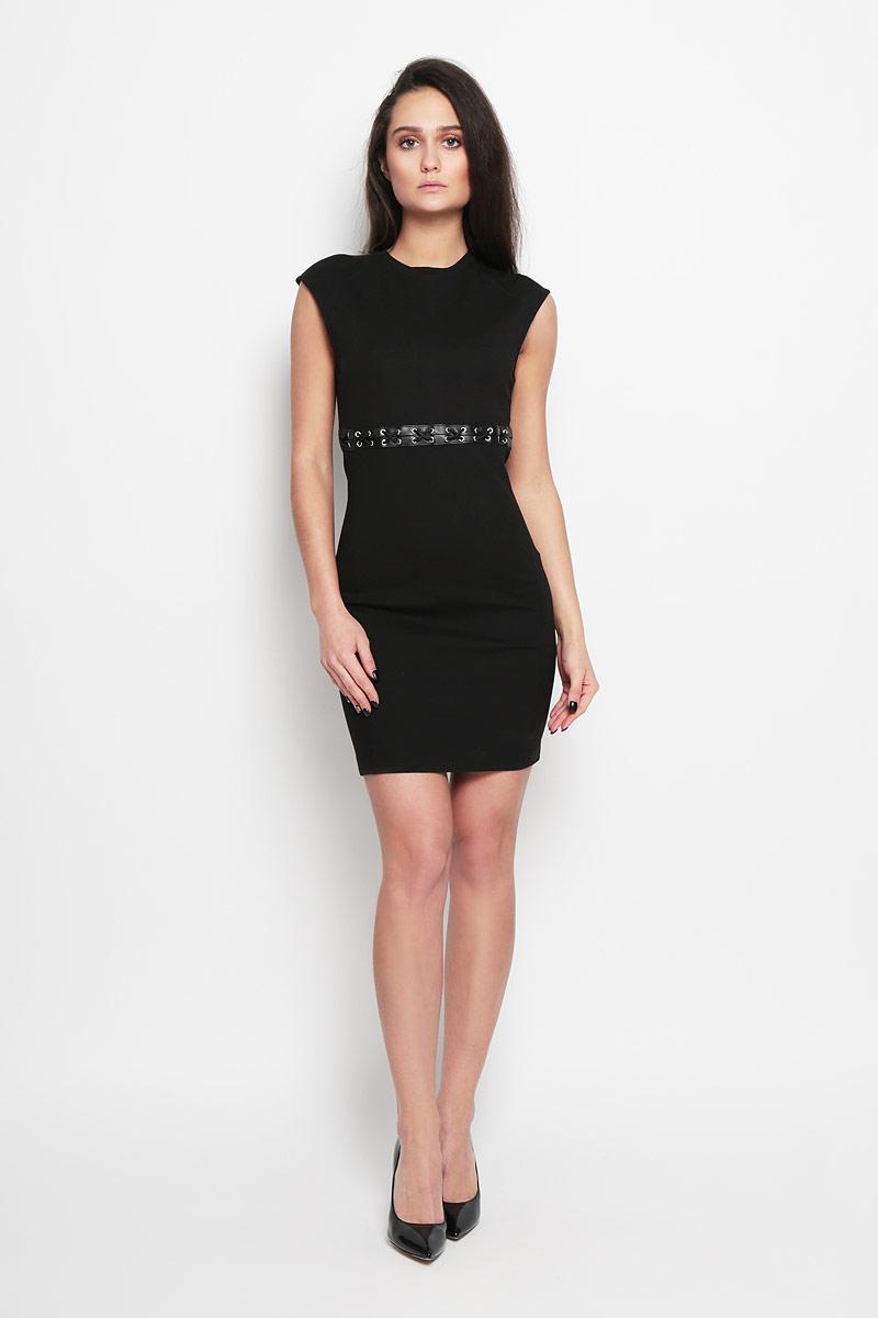 Платье Diesel, цвет: черный. 00SMWQ_0JAKR/900. Размер S (42)00SMWQ_0JAKRВеликолепное платье Diesel, выполненное из высококачественного плотного материала,покорит своим лаконичным дизайном. Платье приталенного кроя с короткими рукавами-реглан декорировано на талии шнуровкой и вставками из искусственной кожи. На спинке модельзастегивается на скрытую застежку-молнию и крючок. Это модное и в тожевремя комфортное платье послужит отличным дополнением к вашему гардеробу.В нем вы всегда будете чувствовать себя уютно и комфортно.