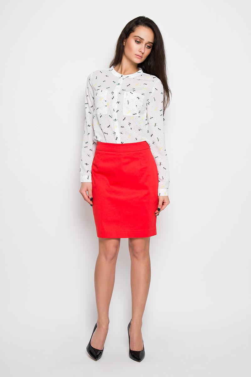 Блузка женская Sela, цвет: белый. B-112/909-6110. Размер 50B-112/909-6110Стильная женская блуза Sela, выполненная из 100% полиэстера, подчеркнет ваш уникальный стиль и поможет создать оригинальный женственный образ.Элегантная блузка с длинными рукавами и круглым вырезом горловины оформлена оригинальным принтом с изображением стрекоз. Модель дополнена двумя нагрудными кармашками. Манжеты рукавов блузки застегиваются на пуговицы.Такая блузка будет дарить вам комфорт в течение жаркого летнего дня и послужит замечательным дополнением к вашему гардеробу.