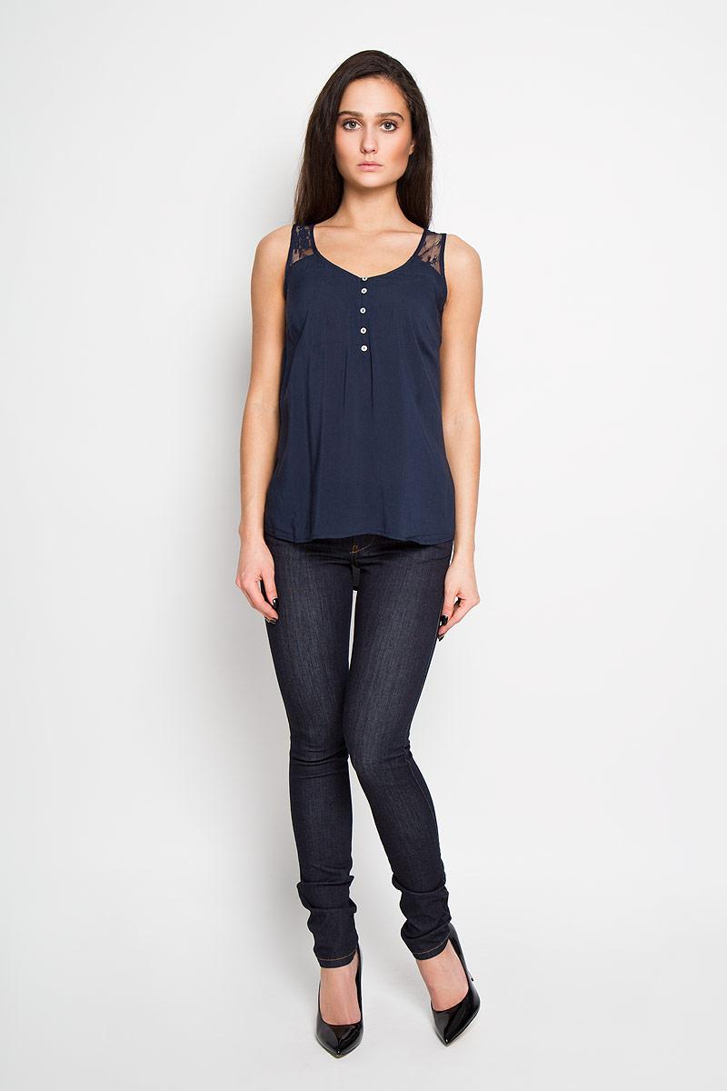 Блузка женская Sela, цвет: темно-синий. Twsl-112/734-6193. Размер 44