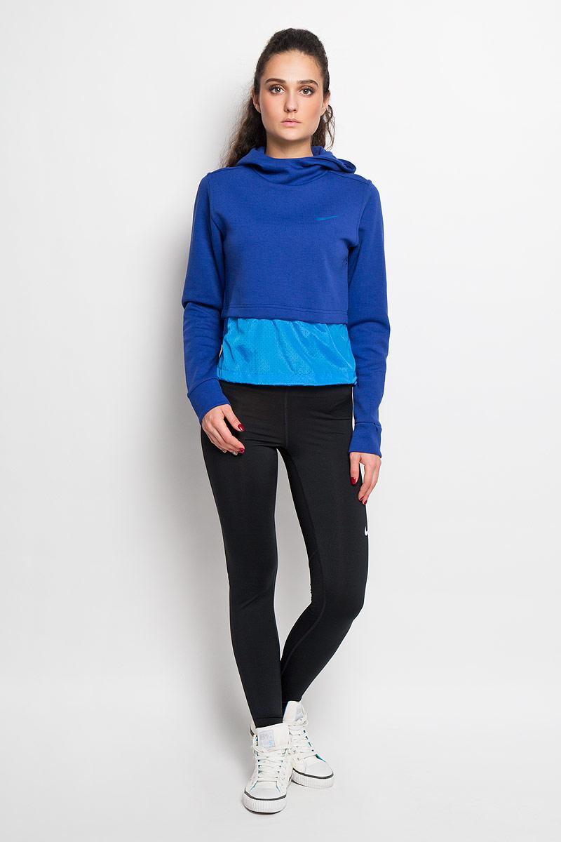 Тайтсы для фитнеса женские Nike Pro Cool Tight, цвет: черный. 725477-010. Размер S (42/44)725477-010Стильные женские тайтсы Nike Thermal Tight, изготовленные из износостойкого приятного на ощупь эластичного материала, предназначены специально для фитнеса и бега. Модель с комфортными плоскими швами оснащена эластичным поясом. Тайтсы идеально прилегают к телу, что придает им повышенные аэродинамические возможности, и подчеркивает достоинства фигуры, абсолютно не сковывая движений.Сзади нижняя часть штанин выполнена из тонкой ткани с мелкой перфорацией для хорошей вентиляции и терморегуляции.Отличный вариант для активных тренировок.