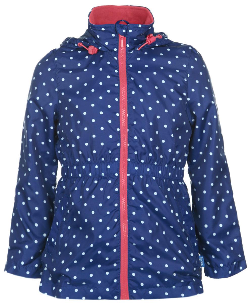 Ветровка для девочки Button Blue, цвет: синий, белый, коралловый. 116BBGB4004. Размер 110, 5 лет
