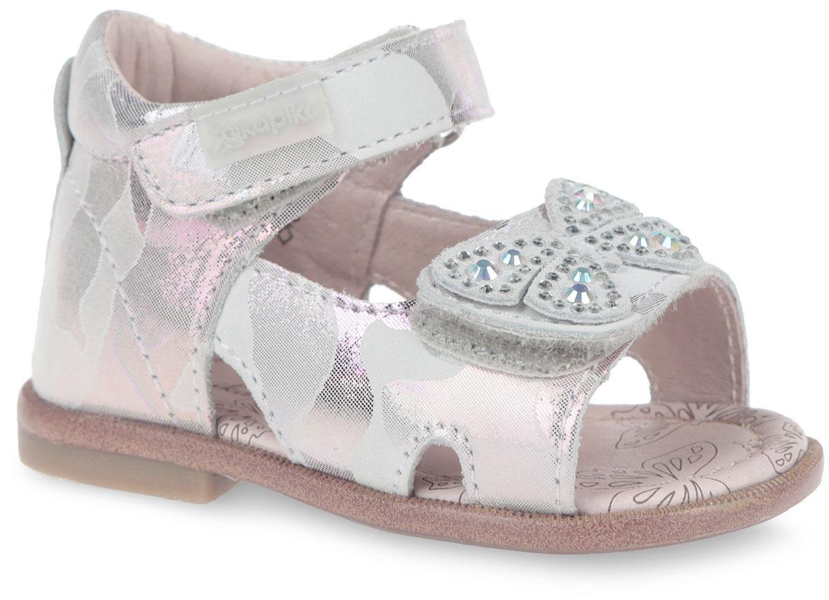 Сандалии для девочки Kapika, цвет: белый, красный, сиреневый. 10084-2. Размер 2110084-2Модные сандалии от Kapika не оставят равнодушной вашу девочку! Модель изготовлена из натурального нубука с покрытием. Ремешки с застежками-липучками в области щиколотки и подъема, прочно закрепят обувь на ножке и отрегулируют нужный объем. Ремешок на подъеме украшен декоративной бабочкой со стразами. Внутренняя поверхность и стелька из натуральной кожи. Стелька дополнена супинатором, который гарантирует правильное положение ноги ребенка при ходьбе. Стелька также обеспечивает воздухопроницаемость модели, отличную амортизацию, сохранение комфортного микроклимата обуви, эффективное поглощение влаги и неприятных запахов. Подошва с протектором обеспечивает отличное сцепление с любой поверхностью. Практичные и стильные сандалии займут достойное место в гардеробе вашего ребенка.
