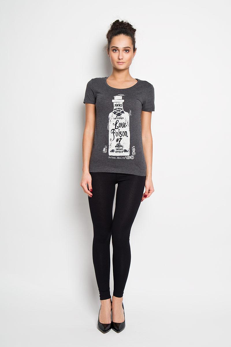 Футболка женская Sela, цвет: темно-серый меланж. Ts-111/749-6102. Размер S (44)Ts-111/749-6102Отличная женская футболка Sela, выполненная из 100 % хлопка, приятная на ощупь не сковывает движения и позволяет коже дышать. Модель с круглым вырезом горловины и короткими рукавами спереди оформлена потрясающим принтом.Эта футболка станет отличным дополнением к вашему гардеробу.