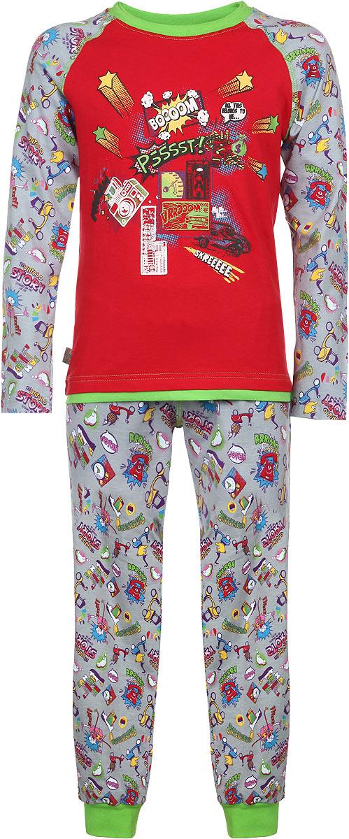 Пижама для мальчика KitFox, цвет: красный, серый, салатовый. AW15-UAT-BST-122. Размер 128/134AW15-UAT-BST-122Пижама для мальчика KitFox, состоящая из футболки с длинным рукавом и брюк, идеально подойдет вашему ребенку. Пижама выполнена из хлопка c добавлением эластана, она очень мягкая и приятная на ощупь, не сковывает движения и позволяет коже дышать, не раздражает даже самую нежную и чувствительную кожу ребенка, обеспечивая ему наибольший комфорт. Футболка с длинными рукавами и круглым вырезом горловины оформлена оригинальным принтом. Вырез горловины дополнен трикотажной резинкой. Брюки прямого кроя на талии имеют широкую эластичную резинку, которая не позволяет брюкам сползать, не сдавливая животик ребенка. Низ брючин дополнен широкими эластичными манжетами. Модель оформлена ярким принтом.В такой пижаме ваш ребенок будет чувствовать себя комфортно и уютно во время сна.