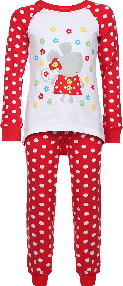 Пижама для девочки KitFox, цвет: красный, белый. AW15-UAT-GST-151. Размер 104/110AW15-UAT-GST-151Пижама для девочки KitFox, состоящая из футболки с длинным рукавом и брюк, идеально подойдет вашему ребенку. Пижама выполнена из хлопка c добавлением эластана, она очень мягкая и приятная на ощупь, не сковывает движения и позволяет коже дышать, не раздражает даже самую нежную и чувствительную кожу ребенка, обеспечивая ему наибольший комфорт. Футболка с длинными рукавами и круглым вырезом горловины оформлена оригинальным принтом в горох, изображением забавной мышкии цветов. Вырез горловины и манжеты на рукавах дополнены трикотажными эластичными резинками.Брюки на талии имеют эластичную резинку и текстильный шнурок, благодаря чему они не сдавливают животик ребенка и не сползают. Модель оформлена принтом в крупный горох. Пижама станет отличным дополнением к детскому гардеробу. В ней ваш ребенок будет чувствовать себя комфортно и уютно во время сна.