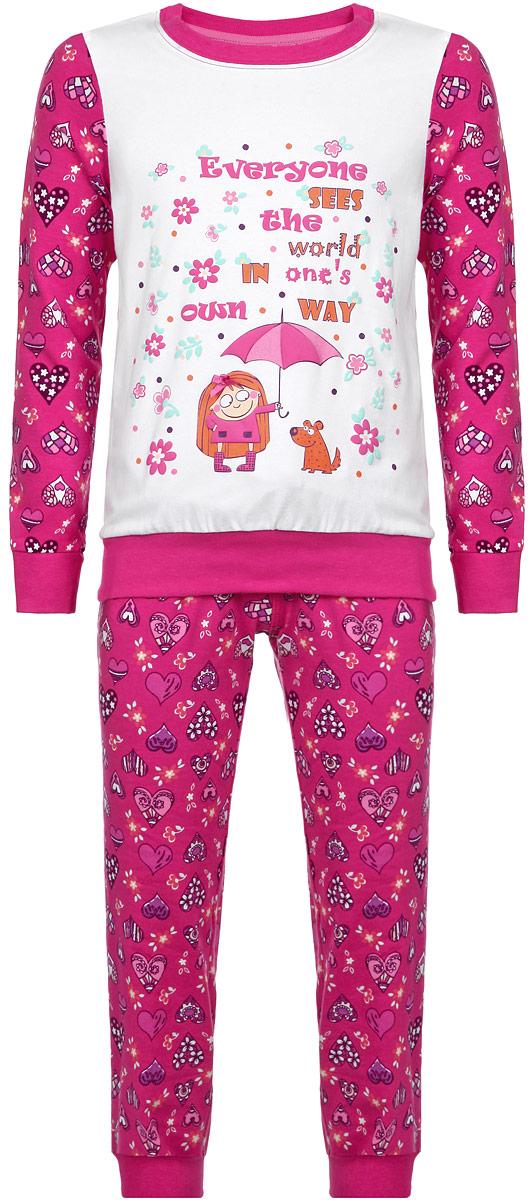 Пижама для девочки KitFox, цвет: фуксия, белый, фиолетовый. AW15-UAT-GST-148. Размер 128/134AW15-UAT-GST-148Пижама для девочки KitFox, состоящая из футболки с длинным рукавом и брюк, идеально подойдет вашему ребенку. Пижама выполнена из хлопка c добавлением эластана, она очень мягкая и приятная на ощупь, не сковывает движения и позволяет коже дышать, не раздражает даже самую нежную и чувствительную кожу ребенка, обеспечивая ему наибольший комфорт. Футболка с длинными рукавами и круглым вырезом горловины оформлена оригинальным принтом в виде сердечек. Вырез горловины и манжеты на рукавах дополнены трикотажными эластичными резинками.Брюки на талии имеют эластичную резинку и текстильный шнурок, благодаря чему они не сдавливают животик ребенка и не сползают. Модель оформлена принтом в виде сердечек. Пижама станет отличным дополнением к детскому гардеробу. В ней ваш ребенок будет чувствовать себя комфортно и уютно во время сна.