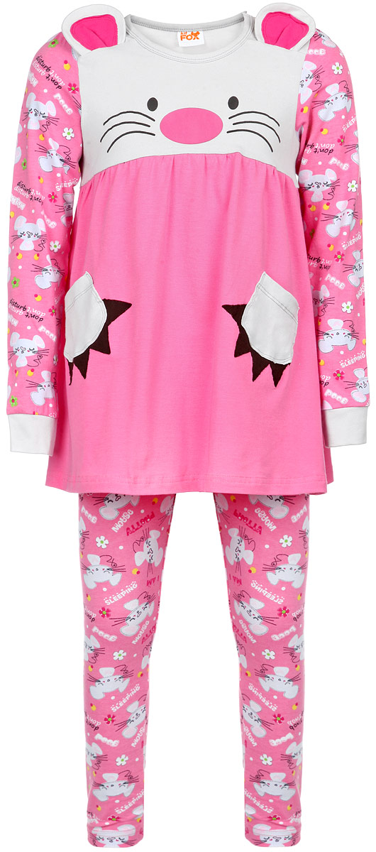 Пижама для девочки KitFox, цвет: розовый, серый. AW15-UAT-GST-154. Размер 116/122AW15-UAT-GST-154Пижама для девочки KitFox, состоящая из футболки с длинным рукавом и брюк, идеально подойдет вашему ребенку. Пижама выполнена из хлопка c добавлением эластана, она очень мягкая и приятная на ощупь, не сковывает движения и позволяет коже дышать, не раздражает даже самую нежную и чувствительную кожу ребенка, обеспечивая ему наибольший комфорт. Футболка с длинными рукавами и круглым вырезом горловины оформлена оригинальным принтом и дополнена двумя нашивными карманами. Вырез горловины и манжеты на рукавах дополнены трикотажными эластичными резинками.Брюки на талии имеют эластичную резинку, благодаря чему они не сдавливают животик ребенка и не сползают.Пижама станет отличным дополнением к детскому гардеробу. В ней ваш ребенок будет чувствовать себя комфортно и уютно во время сна.