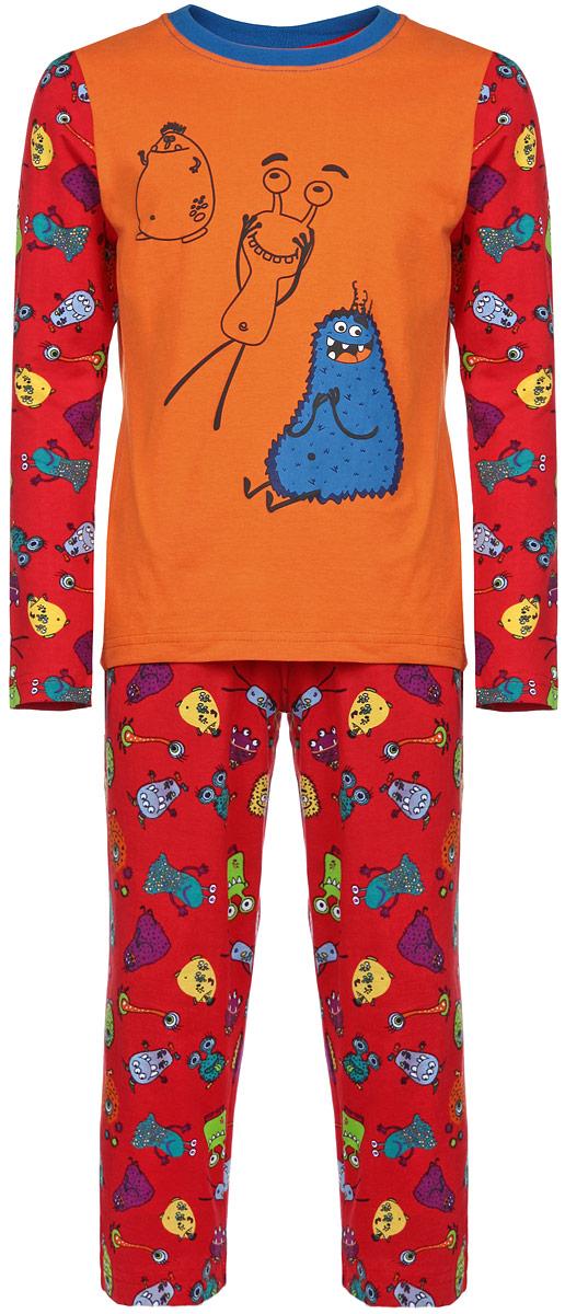 Пижама для мальчика KitFox, цвет: красный, оранжевый, синий. AW15-UAT-BST-055. Размер 104/110AW15-UAT-BST-055Пижама для мальчика KitFox, состоящая из футболки с длинным рукавом и брюк, идеально подойдет вашему ребенку. Пижама выполнена из хлопка c добавлением эластана, она очень мягкая и приятная на ощупь, не сковывает движения и позволяет коже дышать, не раздражает даже самую нежную и чувствительную кожу ребенка, обеспечивая ему наибольший комфорт. Футболка с длинными рукавами и круглым вырезом горловины оформлена термоаппликацией с изображением забавного монстра. Брюки прямого кроя на талии имеют широкую эластичную резинку, которая не позволяет брюкам сползать, не сдавливая животик ребенка. Модель оформлена ярким принтом с изображением веселых монстров.В такой пижаме ваш ребенок будет чувствовать себя комфортно и уютно во время сна.