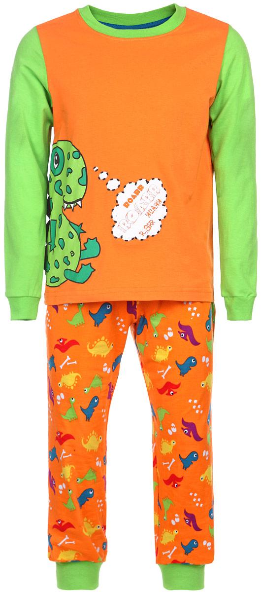 Пижама для мальчика KitFox, цвет: оранжевый, салатовый. AW15-UAT-BST-056. Размер 116/122AW15-UAT-BST-056Пижама для мальчика KitFox, состоящая из футболки с длинным рукавом и брюк, идеально подойдет вашему ребенку. Пижама выполнена из хлопка c добавлением эластана, она очень мягкая и приятная на ощупь, не сковывает движения и позволяет коже дышать, не раздражает даже самую нежную и чувствительную кожу ребенка, обеспечивая ему наибольший комфорт. Футболка с длинными рукавами и круглым вырезом горловины оформлена термоаппликацией с изображением забавного дракона. Вырез горловины и рукава дополнены трикотажными резинками. Брюки прямого кроя на талии имеют широкую эластичную резинку, которая не позволяет брюкам сползать, не сдавливая животик ребенка. Низ брючин дополнен широкими эластичными манжетами. Модель оформлена принтом с изображением драконов.В такой пижаме ваш ребенок будет чувствовать себя комфортно и уютно во время сна.