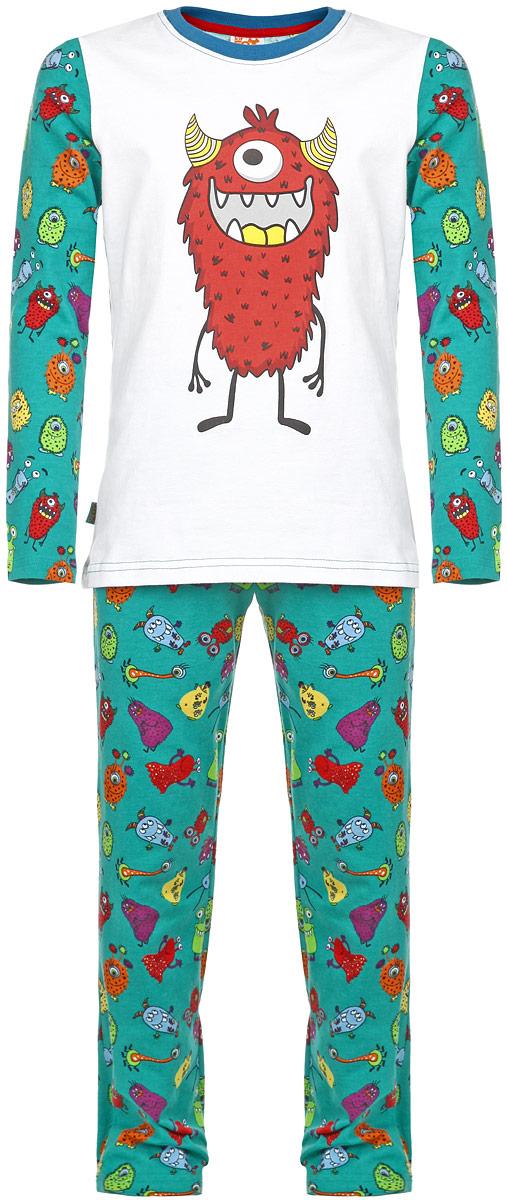 Пижама для мальчика KitFox, цвет: зеленый, белый, синий. AW15-UAT-BST-055. Размер 116/122AW15-UAT-BST-055Пижама для мальчика KitFox, состоящая из футболки с длинным рукавом и брюк, идеально подойдет вашему ребенку. Пижама выполнена из хлопка c добавлением эластана, она очень мягкая и приятная на ощупь, не сковывает движения и позволяет коже дышать, не раздражает даже самую нежную и чувствительную кожу ребенка, обеспечивая ему наибольший комфорт. Футболка с длинными рукавами и круглым вырезом горловины оформлена термоаппликацией с изображением забавного монстра. Брюки прямого кроя на талии имеют широкую эластичную резинку, которая не позволяет брюкам сползать, не сдавливая животик ребенка. Модель оформлена ярким принтом с изображением веселых монстров.В такой пижаме ваш ребенок будет чувствовать себя комфортно и уютно во время сна.