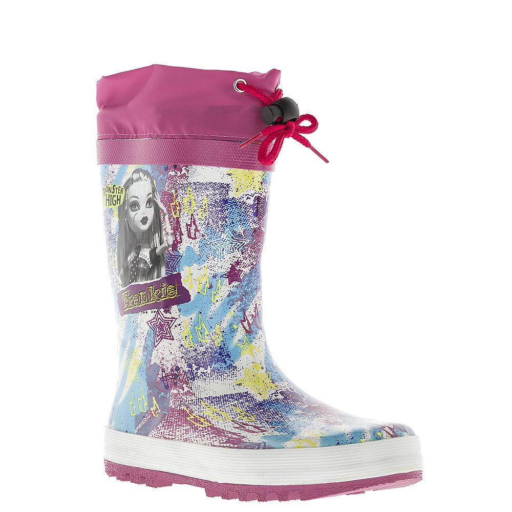 Сапоги резиновые для девочки Kakadu Monster High, утепленные, цвет: белый, голубой, фуксия. 6070B_утепл.. Размер 356070B_утепл.Утепленные резиновые сапоги Monster High от Kakadu превосходно защитят ноги вашей девочки от промокания в дождливый день. Сапоги, выполненные из резины, оформлены красочным принтом и изображением Фрэнки Штейн - героини мультсериала Monster High. Мягкая текстильная внутренняя поверхность и съемная стелька из ЭВА материала с верхней поверхностью из текстиля не дадут ногам замерзнуть. Текстильный верх голенища регулируется в объеме за счет шнурка со стоппером. Рельефная поверхность подошвы гарантирует отличное сцепление с любой поверхностью.Яркая и комфортная обувь с изображениями любимых персонажей порадует юных поклонниц мультсериала Monster High.