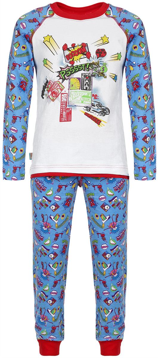 Пижама для мальчика KitFox, цвет: белый, голубой, красный. AW15-UAT-BST-122. Размер 128/134AW15-UAT-BST-122Пижама для мальчика KitFox, состоящая из футболки с длинным рукавом и брюк, идеально подойдет вашему ребенку. Пижама выполнена из хлопка c добавлением эластана, она очень мягкая и приятная на ощупь, не сковывает движения и позволяет коже дышать, не раздражает даже самую нежную и чувствительную кожу ребенка, обеспечивая ему наибольший комфорт. Футболка с длинными рукавами и круглым вырезом горловины оформлена оригинальным принтом. Вырез горловины дополнен трикотажной резинкой. Брюки прямого кроя на талии имеют широкую эластичную резинку, которая не позволяет брюкам сползать, не сдавливая животик ребенка. Низ брючин дополнен широкими эластичными манжетами. Модель оформлена ярким принтом.В такой пижаме ваш ребенок будет чувствовать себя комфортно и уютно во время сна.